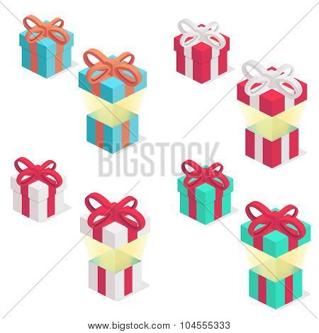 Gift boxes set with ribbon, isolated on the white background