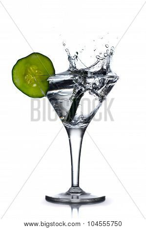 Aromatic Gin Tonic Splash In Martini Glass