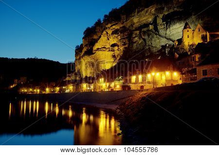 Nightfall In La Roque-gageac, Dordogne, Aquitaine, France