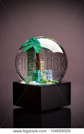 City inside a snow globe