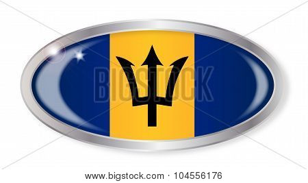 Barbados Flag Oval Button