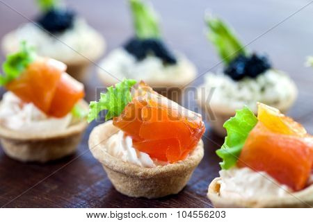 Multiple Mini Seafood Pastry Tartlets.