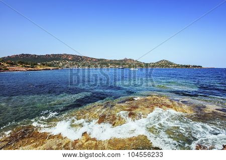Agay Bay In Esterel Rocks Beach Coast And Sea. Cote Azur, Provence, France.