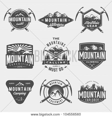 Vector Set Of Mountain Exploration Vintage Logos, Emblems, Silhouettes And Design Elements