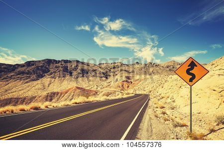 Retro Stylized Country Road And Winding Sign, Usa.