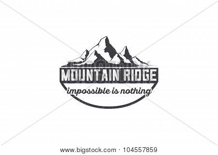 Mountain exploration emblem. outdoor activity symbol with grunge texture.