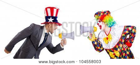 Clown and businessman holding loudspeakers isolated on white