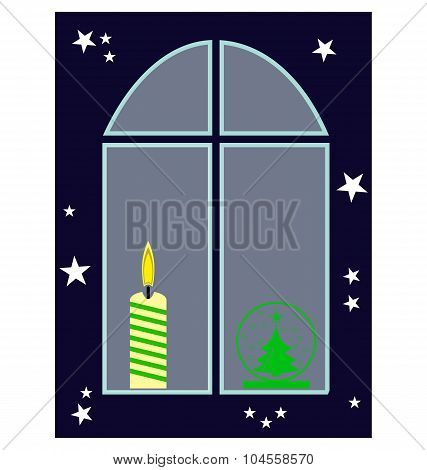 Christmas Window With Candle