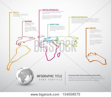 Light World thin line map infographic template with pointer marks