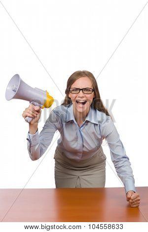 Office employee at job holding loudspeaker isolated on white