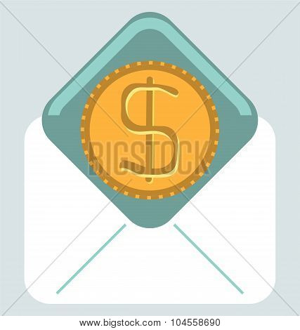 Illustration Of Envelope With Golden Dollar Coin