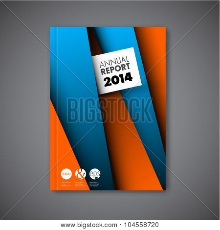 Modern Vector abstract brochure / book / flyer design template with orange and blue paper