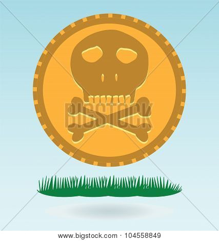 Gold Coin With A Skull And Crossbones. Symbol Of Pirates, Danger, Death, Halloween.