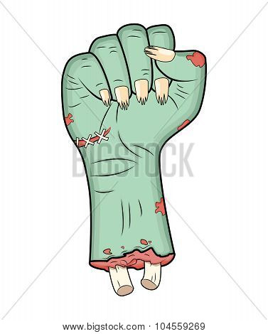 Zombie Hand, Fist Gesture Halloween Vector - Realistic Cartoon Isolated Illustration. Image Of Scary
