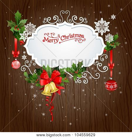 Holiday background with christmas decoration. Festive design for card, banner, invitation, leaflet and so on.