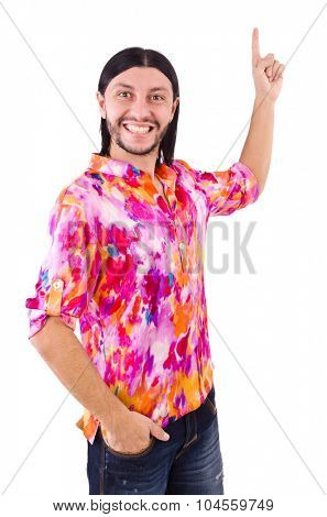 Man in pink shirt isolated on white