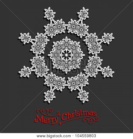 Holiday white snowflake. Christmas design for card, banner, invitation, leaflet and so on.