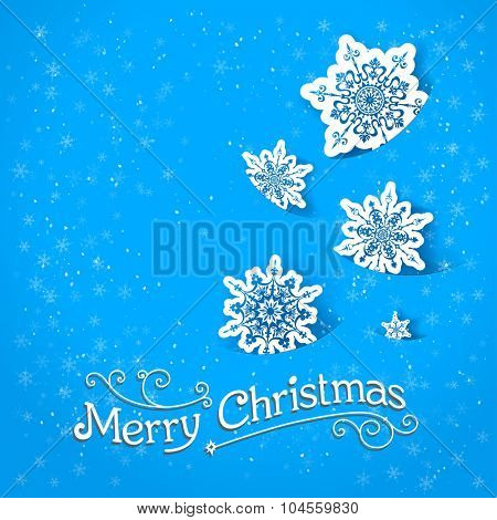 Blue background with snowflakes for design card, banner,ticket, leaflet and so on.