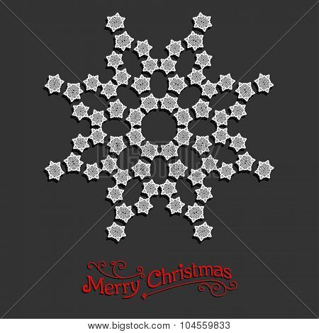 White snowflake. Christmas design for card, banner, invitation, leaflet and so on.