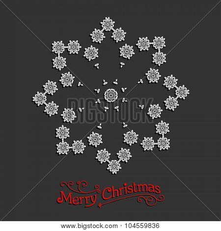 Holiday snowflake. Christmas design for card, banner, invitation, leaflet and so on.