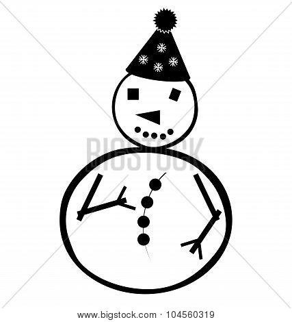 Christmas Winter Snowman  In Cap