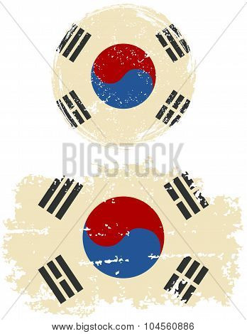South Korean round and square grunge flags. Vector illustration.