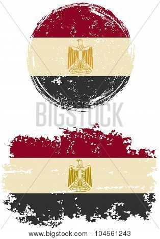 Egyptian round and square grunge flags. Vector illustration.