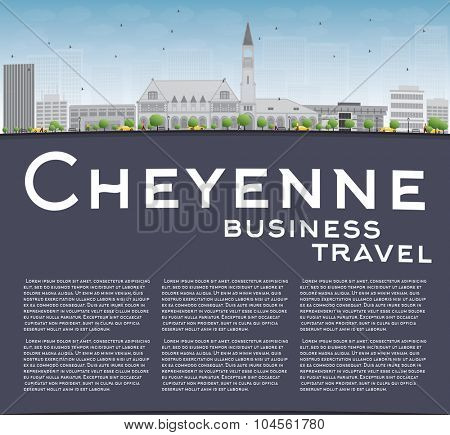 Cheyenne (Wyoming) Skyline with Grey Buildings and Blue Sky. Business travel and tourism concept with place for text. Image for presentation, banner, placard and web site.