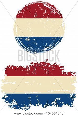 Dutch round and square grunge flags. Vector illustration.