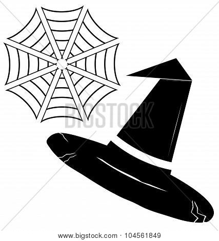 Black Silhouette Of A Witches Hat Isolated On A White, Spider Web