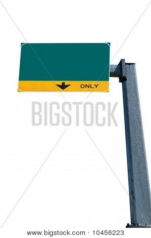 Blank green traffic sign
