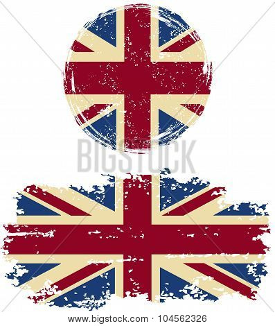 British round and square grunge flags. Vector illustration.