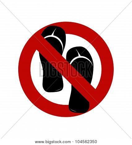 No Sandals, No Shoes, No Slippers Sign On White Background. No, Ban Or Stop Signs. Prohibition Forbi