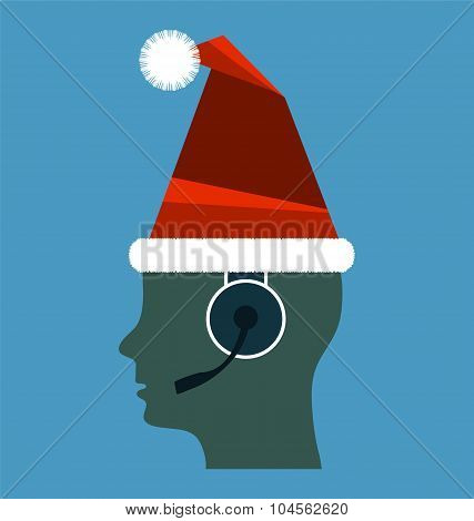 Call Centre Operator With Headset Wearing Santas Hat