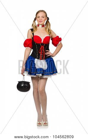 Woman in Oktoberfest concept on white