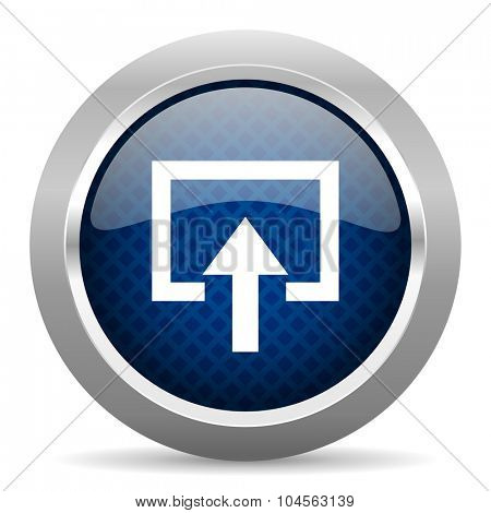 enter blue circle glossy web icon on white background, round button for internet and mobile app