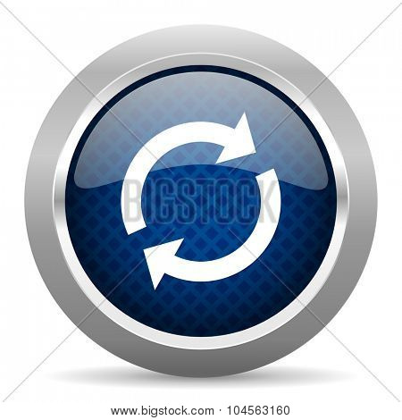 reload blue circle glossy web icon on white background, round button for internet and mobile app