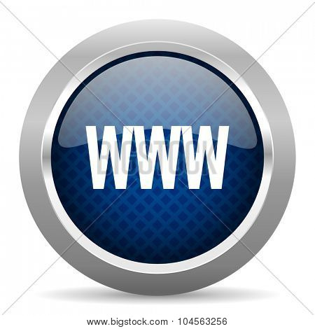 www blue circle glossy web icon on white background, round button for internet and mobile app