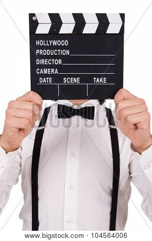 Young gentleman with clapperboard isolated on white