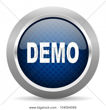 demo blue circle glossy web icon on white background, round button for internet and mobile app