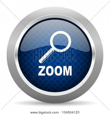 zoom blue circle glossy web icon on white background, round button for internet and mobile app
