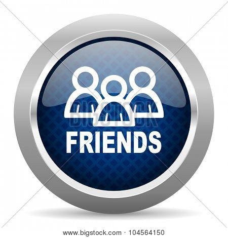 friends blue circle glossy web icon on white background, round button for internet and mobile app