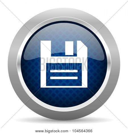 disk blue circle glossy web icon on white background, round button for internet and mobile app
