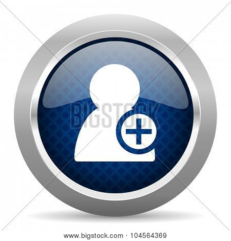add contact blue circle glossy web icon on white background, round button for internet and mobile app