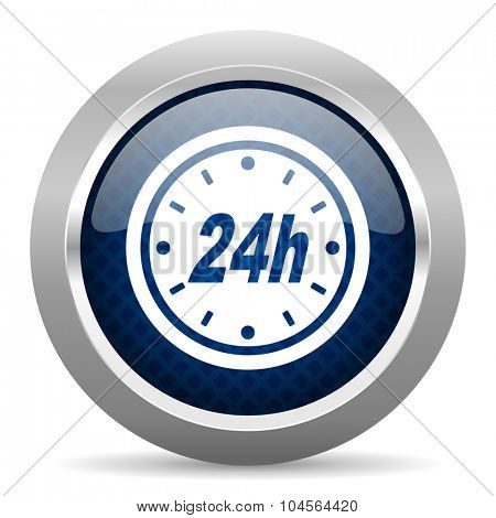 24h blue circle glossy web icon on white background, round button for internet and mobile app