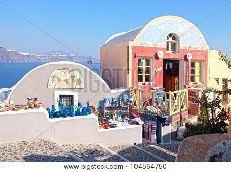 Beautiful Souvenir Shops On Colorful Narrow Street , Oia, Santorini