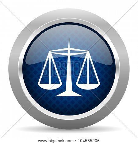justice blue circle glossy web icon on white background, round button for internet and mobile app