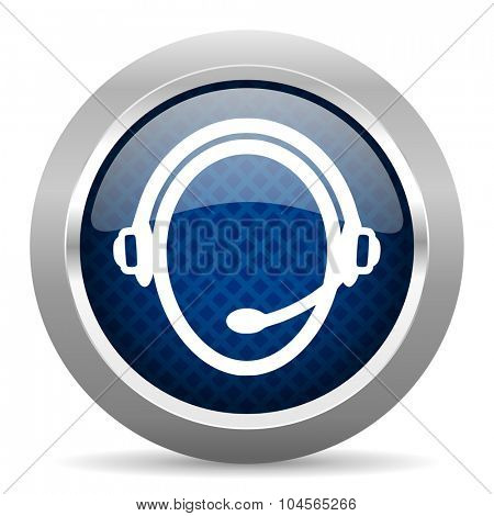customer service blue circle glossy web icon on white background, round button for internet and mobile app