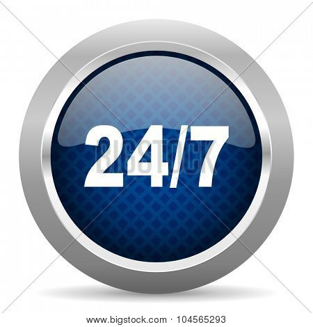 24/7 blue circle glossy web icon on white background, round button for internet and mobile app