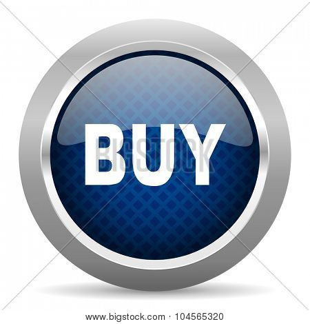 buy blue circle glossy web icon on white background, round button for internet and mobile app